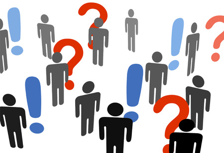 among: A group of symbol people search for information among exclamation question marks.