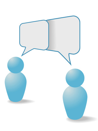 two: Two people symbols share talk together in overlapping social media communication speech bubbles.