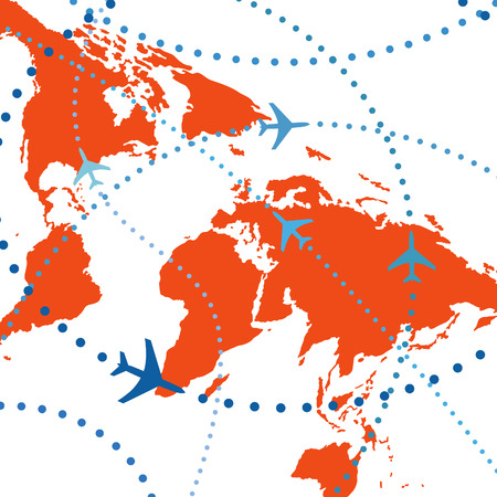 Reis van de lucht. Gestippelde lijnen zijn vlucht paden van commerciële luchtvaartmaatschappij passagiers jets vliegen in air traffic.