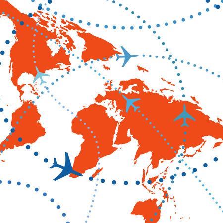 air traffic: Viaje por v�a a�rea. Las l�neas de puntos son las trayectorias de vuelo de jets de pasajeros de la aerol�nea comercial volando en el tr�fico a�reo.