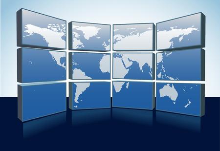 Un mur d'écrans d'affichage d'une carte mondiale de la Terre sur un groupe d'écrans d'ordinateur ou de télévision.