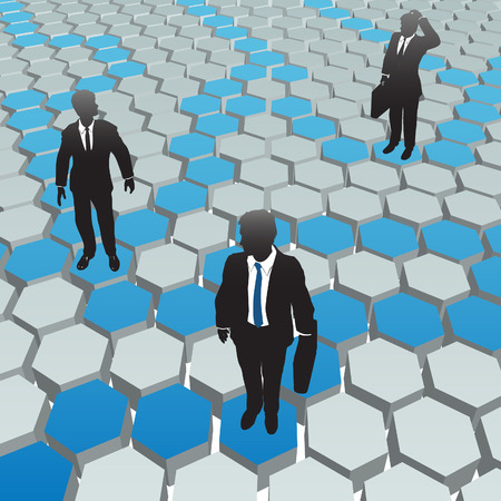 Business people find solutions in a social media hexagon network.