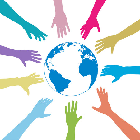 grab: Colorful people hands reach out to a blue globe. Illustration