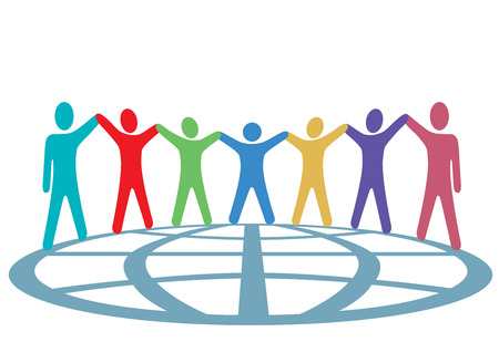 arm raised: A global group of symbol people hold up their arms and hold hands around a globe in a spirit of togetherness. Illustration