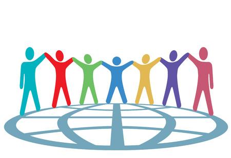 bras lev�: Un groupe global de symbole personnes poss�dent leurs armes et d�tenir des mains une plan�te dans un esprit de solidarit�. Illustration