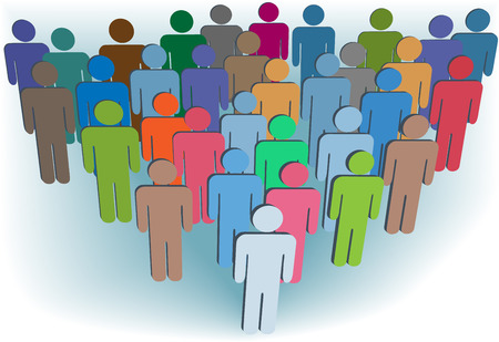 A group company congregation of symbol people in many colors behind a leader. Stock Vector - 7529795