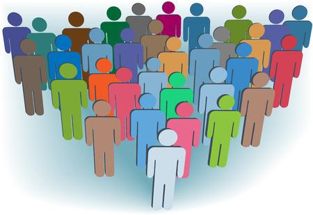 Una congregación de la compañía de grupo de la población de símbolo de muchos colores detrás de un líder.