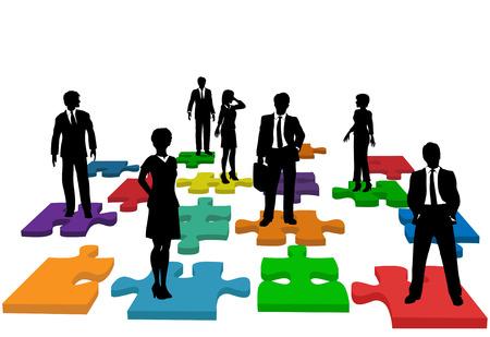 jigsaws: Problemi di risorse umane e altre persone problemi e soluzioni con la gente su pezzi di puzzle, che effettivamente costituiscono un puzzle.