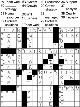 clue: A crossword puzzle with business plan words as clues and solution answers. Stock Illustratie