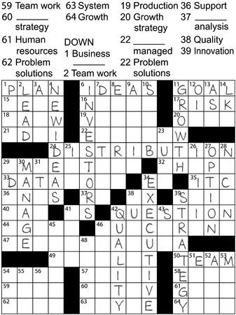 Een kruiswoordpuzzel met bedrijfsplanwoorden als aanwijzingen en oplossingsantwoorden. Stock Illustratie