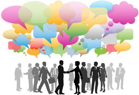 trabajo social: Medios de comunicaci�n sociales de negocios de personas red en una nube de colores de burbujas de discurso de empresa.  Vectores