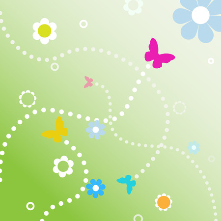 blue circles: Butterflies fly dotted line paths on spring flowers in abstract background.