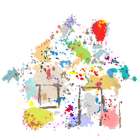spatter: A house shape paint drops spatter splatter effect abstract painting of a home.