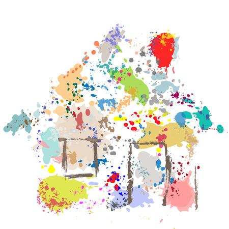 Een huis vorm verf druppels spetter splatter effect abstract schilderij van een huis.