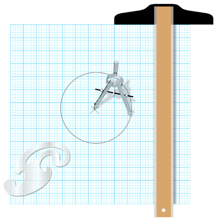 Drafting design tools protractor t square compass engineering drawing. Vector