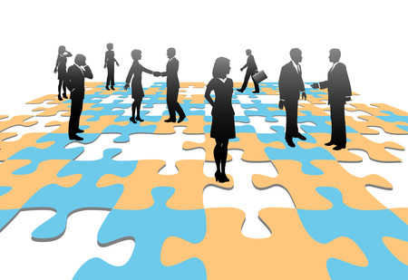 art piece: Human resources issues and other people issues and find solutions on jigsaw puzzle pieces. Illustration