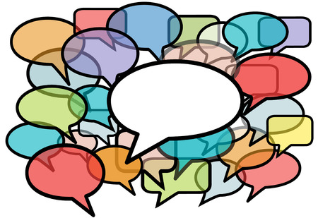 Your message is heard above social media network noise in speech bubble copy space background. Stock Vector - 7559673