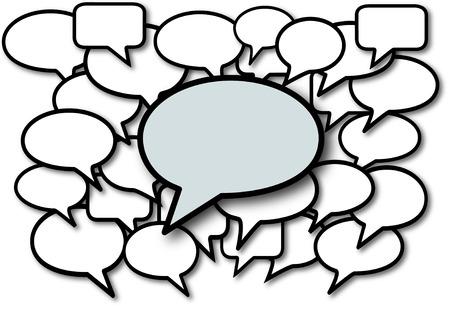 mixed media: Talk in speech bubbles social media communication copyspace. Illustration