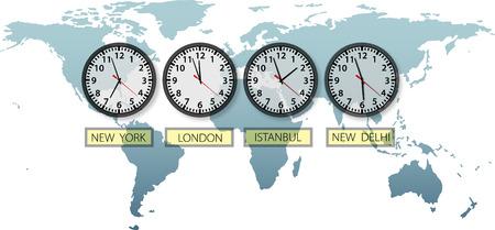 여행 지구 도시 시간 시계 자르기 및 복사 공간 세계지도에.