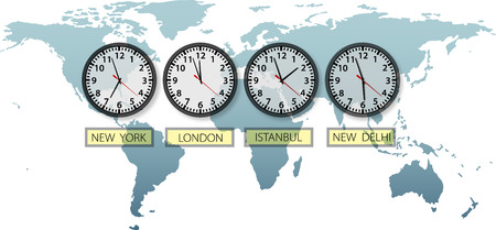 Travel Earth city time clocks on world map with space to crop and for copy. Vector
