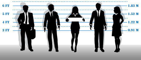 accuse: A company of most wanted white collar business people lined up in a line up. Illustration