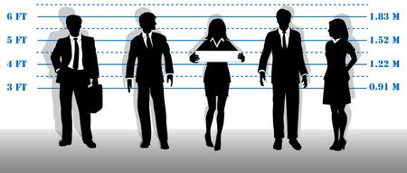 Una empresa de más buscados a gente de negocios de cuello blanco se alinearon en una línea de arriba.