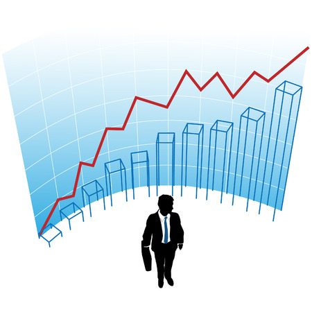 A business man silhouette in a graph chart curve success concept. 向量圖像