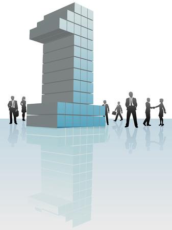 numero uno: Gruppo di persone di affari intorno a una grande azienda numero una.
