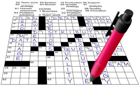 A pen solves a Business Plan Answers Crossword Puzzle.