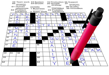 crossword: A pen solves a Business Plan Answers Crossword Puzzle.