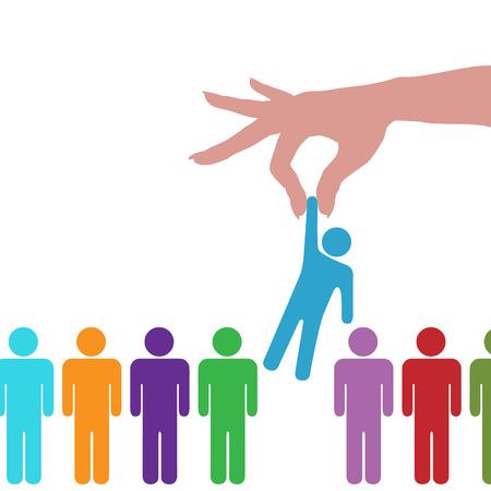 Una mano para llegar a buscar selecciona una persona de una fila de personas. Ilustración de vector