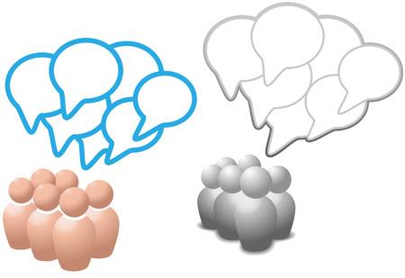 シンボルの人々 のグループの話ソーシャル メディア ネットワーク音声バブル コピー スペースを重複します。  イラスト・ベクター素材