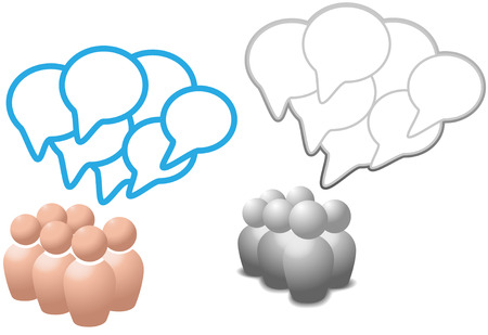 Groups of symbol people talk social media networking in overlapping speech bubble copy space.