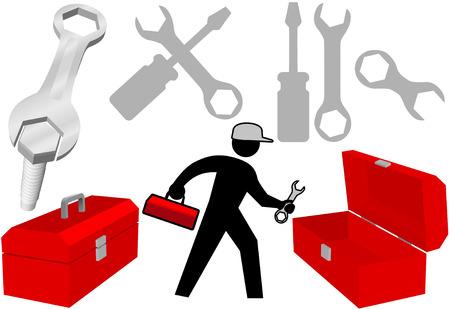 repair man: Solucionarlo este set de reparaci�n herramientas de trabajo persona herramienta de cuadros.  Vectores