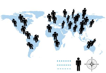 La población de la tierra en los continentes e islas de un mapa del mundo.
