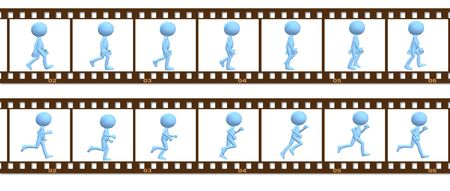walk in: A 3D cartoon character people walk and run in a cel frame animation.
