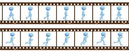 Een 3D cartoon karakter mensen lopen en lopen in een cel frame animatie.
