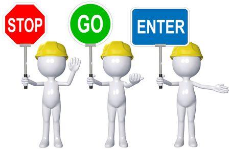 instructions: Una persona di costruzione 3D cartoon indirizza il traffico con segni di STOP GO ENTER. Archivio Fotografico