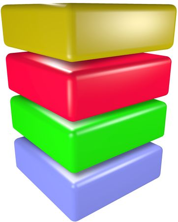 A stack of four 3D technology cubes abstract data symbols. 写真素材