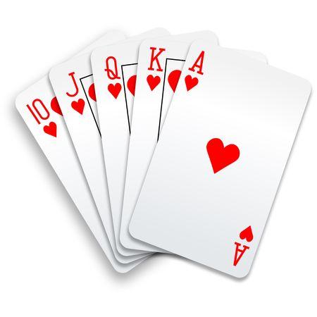 Een royal straight flush kaarten poker hand op het hart.  Stockfoto