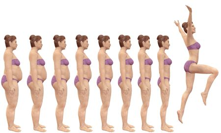renders: A woman diets from fat to fitness in before and after series of 3D renders Stock Photo