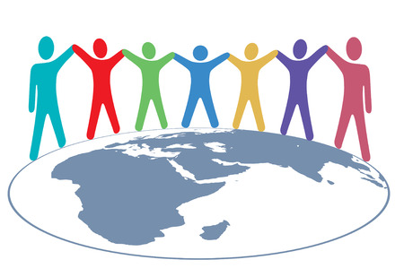 humanities: Diverse group of symbol people hold hands around map of planet earth. Illustration