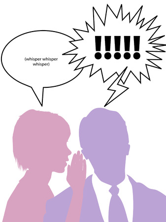 A woman whispers to confide secret gossip to business man.  Ilustração