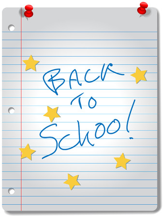 educational material: BACK TO SCHOOL stars on ruled notebook paper, red tacks and A+ grade for education supplies. Illustration