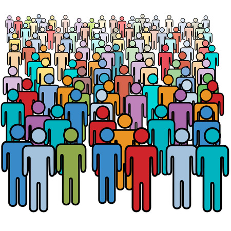 multitud: Una gran diversa multitud de personas de la figura de palo de coloridos de medios de comunicaci�n social.