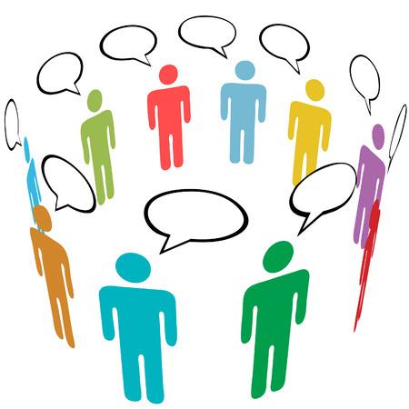 スティック図のグループ シンボル人々 は社会的なメディアのスピーチの泡で話します。