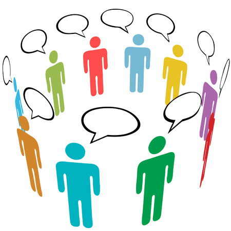 A group of stick figure Symbol People talk in Social Media speech bubbles. Vectores