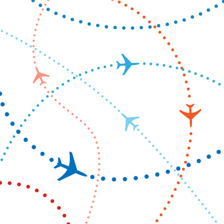 passenger airline: Air travel. Dotted lines are flight paths of commercial airline passenger jets flying in air traffic.