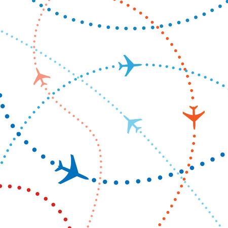 air travel: Il trasporto aereo. Linee tratteggiate sono percorsi di volo della compagnia aerea commerciale passeggeri getti battenti nel traffico aereo.