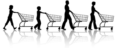 shops: The family that shops together - mom dad kids push shopping carts.